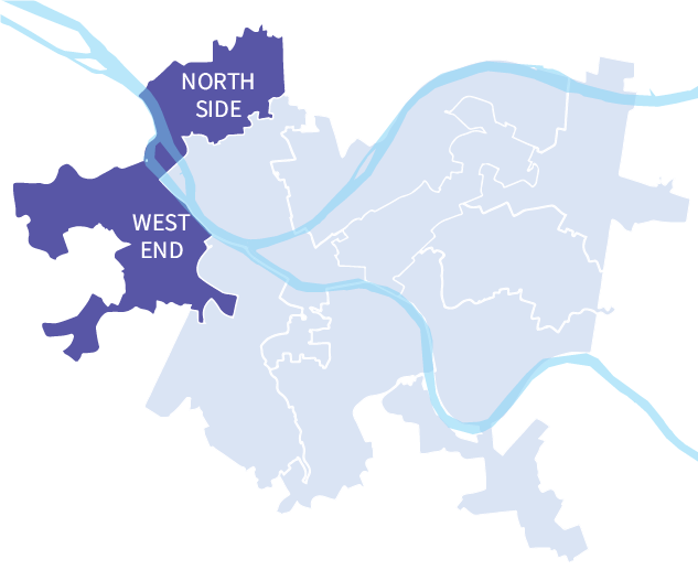 Map of Pittsburgh, PA school board districts. District 9 is shown in a dark purple.